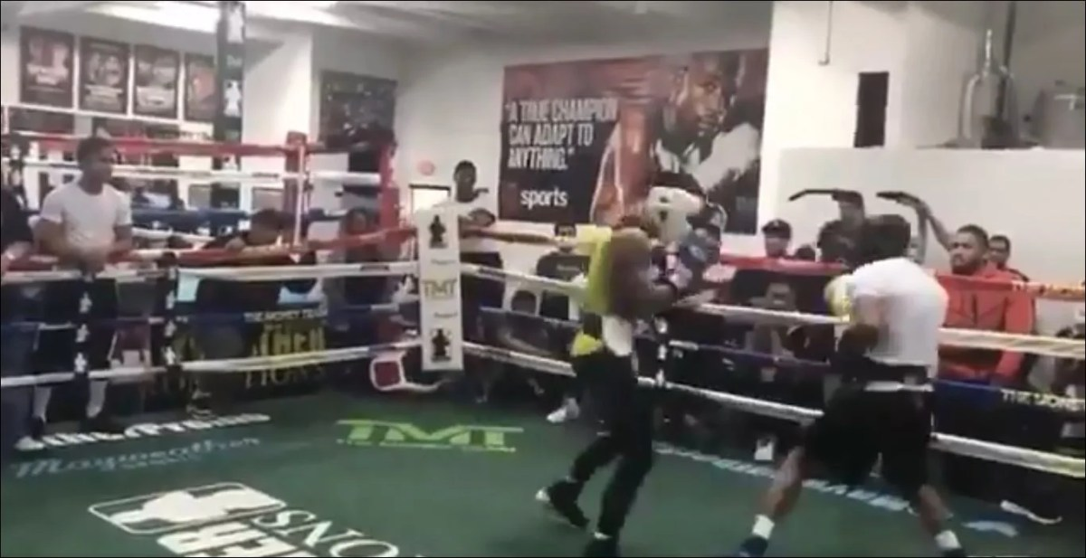 Boxer Posts Intense Sparring Video From The Mayweather Boxing Club